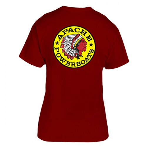 Apache Short Sleeve T-Shirt - Back - Maroon