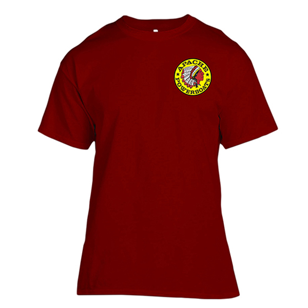 Apache Short Sleeve T-Shirt - Front - Maroon