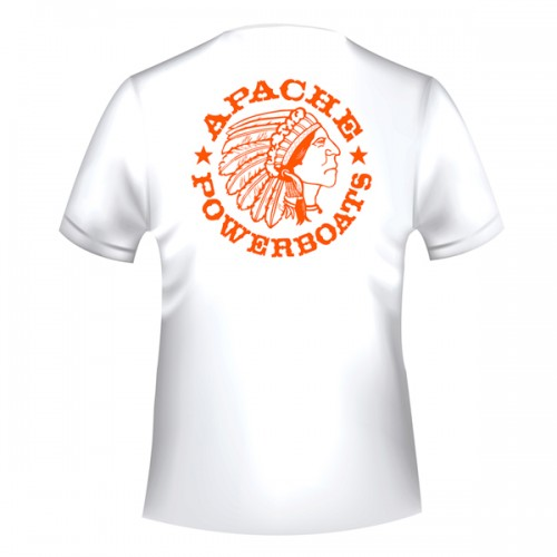 Apache Short Sleeve T-Shirt - White with Orange APB - Back