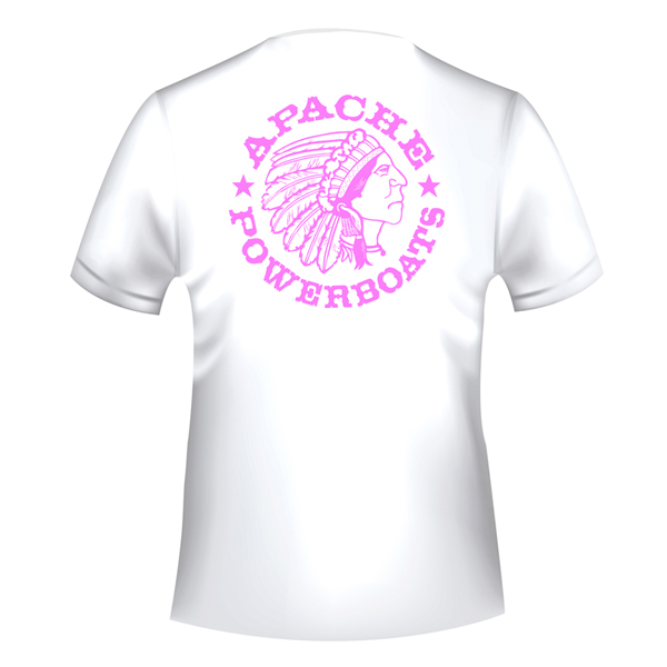 Apache Short Sleeve T-Shirt - White with Pink APB - Back