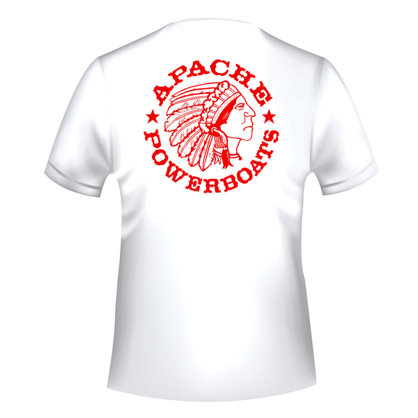 Apache Short Sleeve T-Shirt - White with Red APB - Back