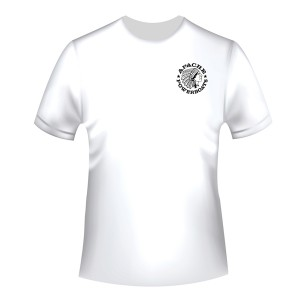 Apache Short Sleeve T-Shirt - White with Black APB - Front