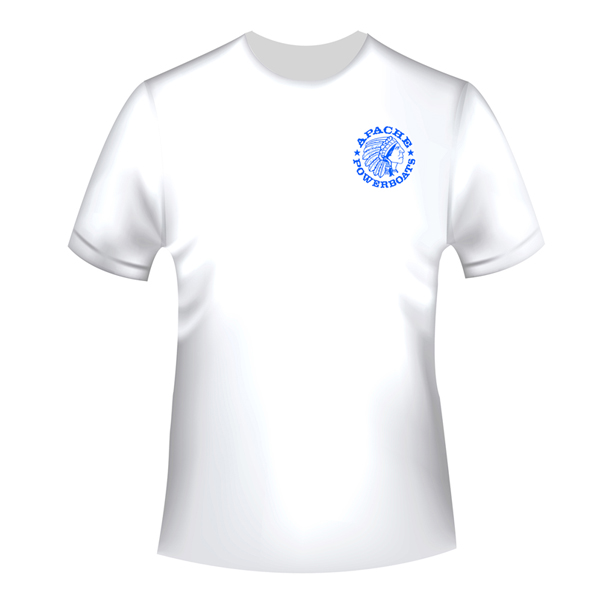 Apache Short Sleeve T-Shirt - White with Blue APB - Front