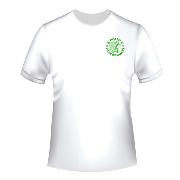 Apache Short Sleeve T-Shirt - White with Green APB - Front
