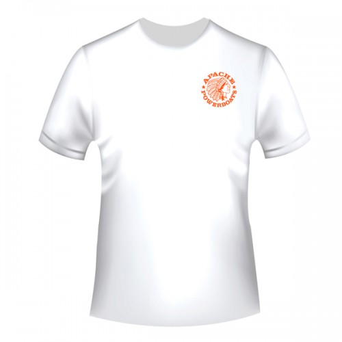 Apache Short Sleeve T-Shirt - White with Orange APB - Front