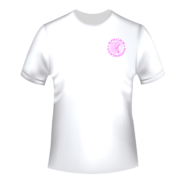 Apache Short Sleeve T-Shirt - White with Pink APB - Front