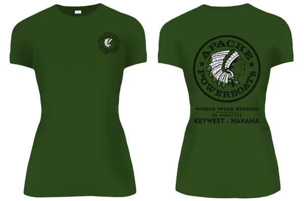 Apache - Women's Short Sleeve T-Shirt - Fitted - Military Green - World Speed Record