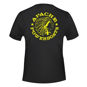 Apache Short Sleeve T-Shirt - Black with Yellow APB - Back