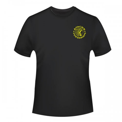 Apache Short Sleeve T-Shirt - Black with Yellow APB - Front