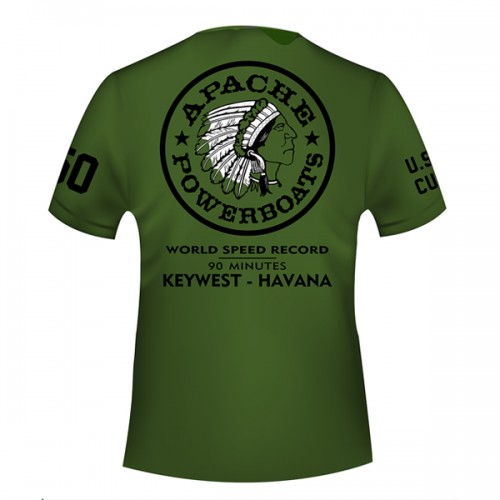Apache World Speed Record T-Shirt - Short Sleeve - Military Green - Back