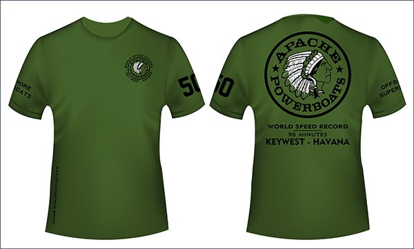 Apache Short Sleeve T-Shirt - Military Green - World Speed Record Logo