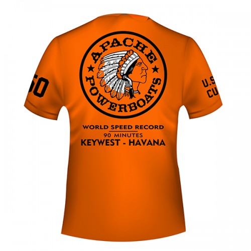 Apache World Speed Record T-Shirt - Short Sleeve - USA-CUBA - Back - Safety Orange