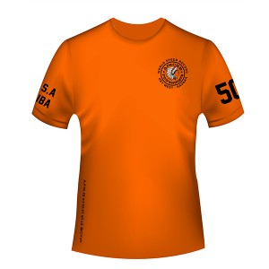 Apache World Speed Record T-Shirt - Short Sleeve - USA-CUBA - Front - Safety Orange