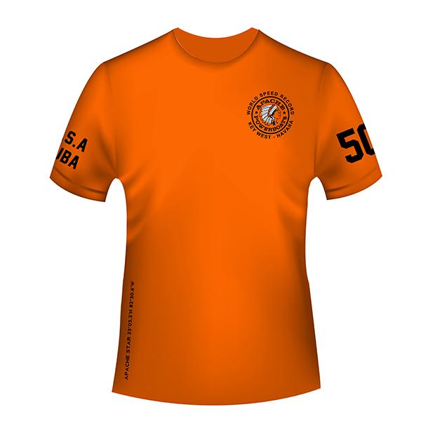 Apache World Speed Record T-Shirt - Short Sleeve - USA-CUBA - Front - Safety Orange