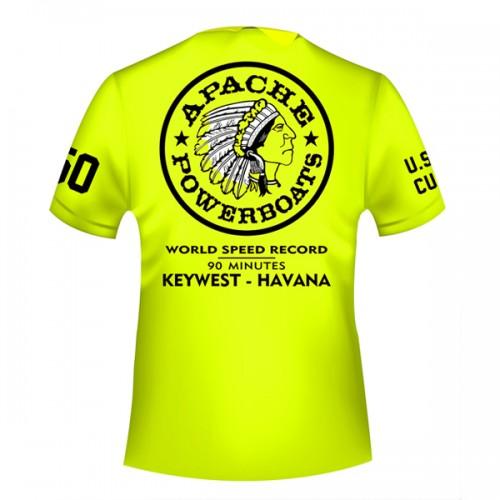 Apache World Speed Record T-Shirt - Short Sleeve - USA-CUBA - Back - Safety Green