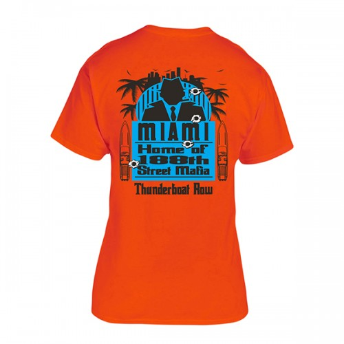 Apache 188th Street - Thunderboat Row T-Shirt - Back - Safety Orange
